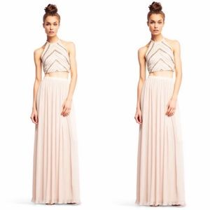 Two piece beaded halter and pleated skirt set